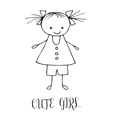 Cute little girl. Hand drawing in funny kids style. Design element for decoration souvenirs, cards, poster, banner. Imitation drawing child. Doodles. Illustration