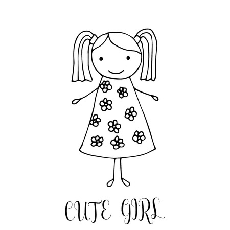 Cute little girl. Hand drawing in funny kids style. Design element for decoration souvenirs, cards, poster, banner.