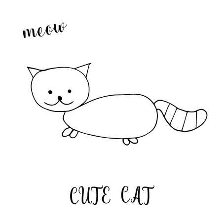 Childrens drawing a cute cat. The template for the painting. Hand drawn in a funny kids style. Cartoon. Doodles. Vector illustration isolated on white background.