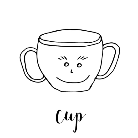 Childrens drawing a cup. The template for the painting. Hand drawn dishes in a funny kids style. Cartoon. Doodles. Vector illustration isolated on white background.