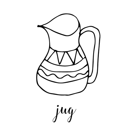 Childrens drawing a jug. The template for the painting. Hand drawn dishes in a funny kids style. Cartoon. Doodles. Vector illustration isolated on white background.