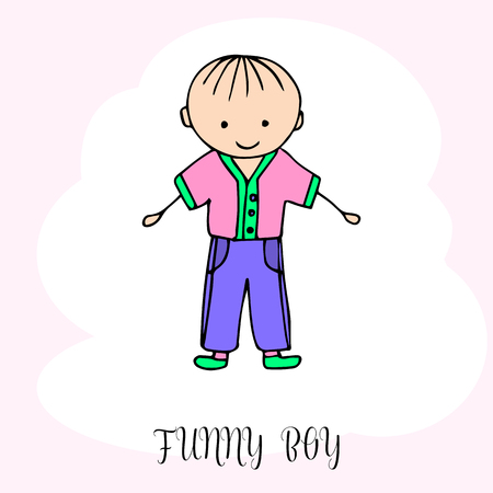 Funny little boy. Hand drawing in cute kids style. Design element for decoration souvenirs, cards, poster, banner. Imitation drawing child. Doodles. Vector illustration isolated on white background. Illustration