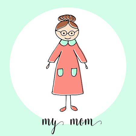 Niños Dibujo De Una Madre. La Plantilla Para La Pintura. Dibujado A ...