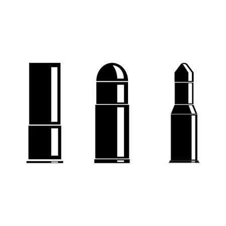 Cartridges icons vector set. Bullet icon. Weapon ammo types and size in flat style.