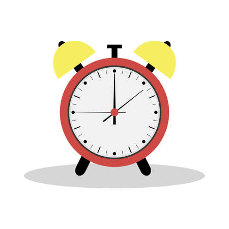 Red alarm clock icon. Flat Illustration. The silhouette of the clock.