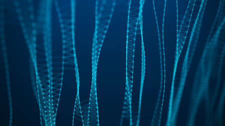 Sound wave element. Big data digital blue background. Science background. Lines plexus. 3d rendering.