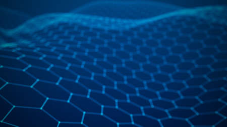 Futuristic blue hexagon background. Futuristic honeycomb concept. Wave of particles. 3D rendering.