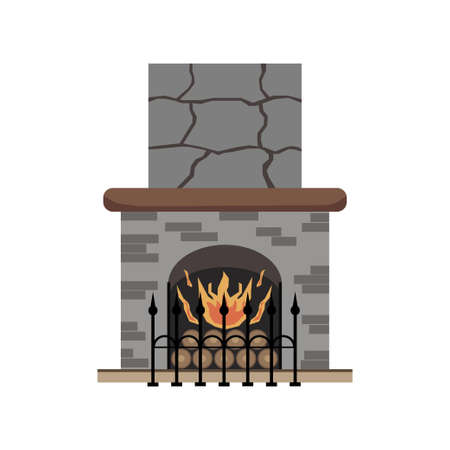 Fireplace. An element of the interior of the living room. Flat icon design. Vector illustration.