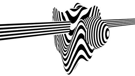 Abstract 3d black and white illusions. Optical illusion lines background. Horizontal lines stripes pattern or background with wavy distortion effect. Vector illustration.