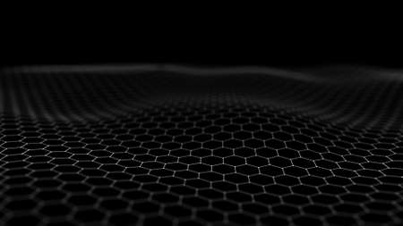Futuristic black hexagon background. Futuristic honeycomb concept. Wave of particles. 3D rendering. Stock Photo