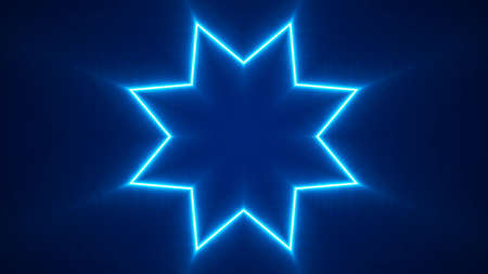Abstract Neon Star. Glowing light effect. Laser line glow. Neon background. Abstract background. Big data visualization. 3d rendering.