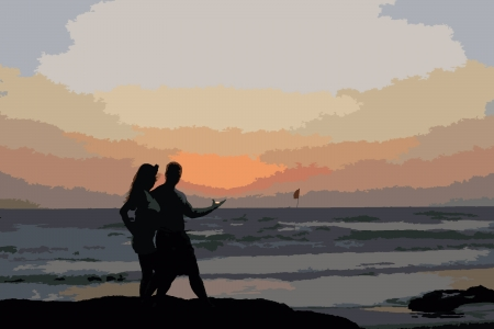 a girl and a guy at sunset in Goa Illustration