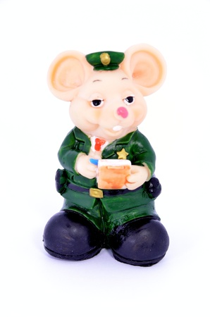 Little mouse policeman with a Notepad