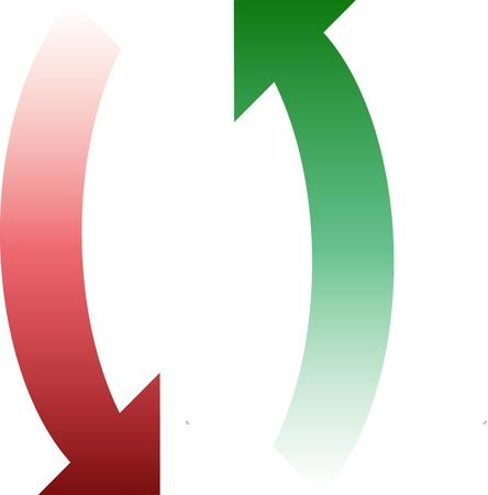 Twee Gradient Arrows afschilderen van de klok mee, Met Bezinning