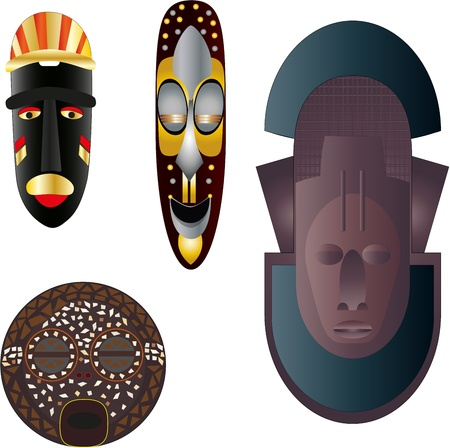 polynesian ethnicity: Masks of different tribes of Africa