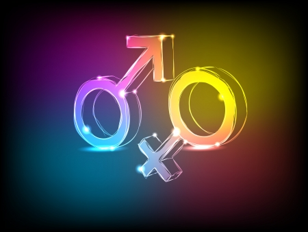 heterosexuality: The male and female signs with neon