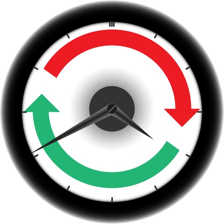 Clock with red and green circle arrows Stock Vector - 21531595