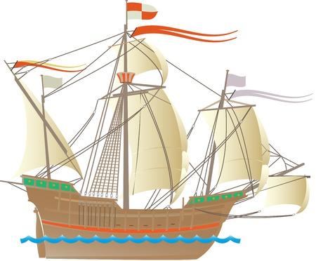 Een van de schepen van Christopher Columbus Stock Illustratie