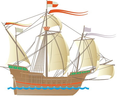 columbus: One of the ships of Christopher Columbus Illustration
