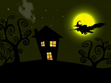 The Halloween witch flying over the moon Vector