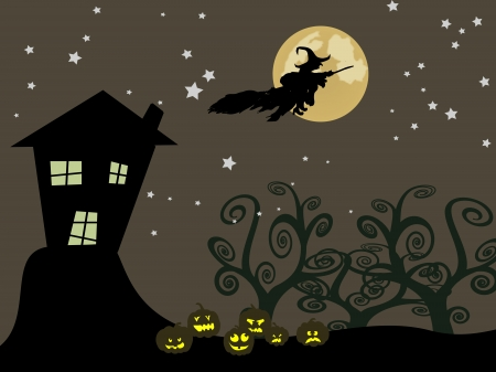 hag: The Halloween witch flying over the moon
