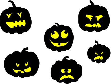Set of halloween pumpkin with various faces Vector