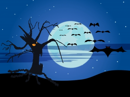 The halloween tree and flying bats near big moon Vector