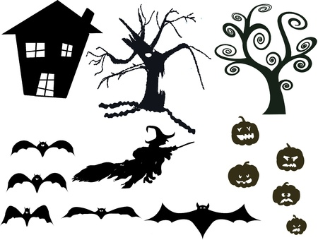 The Halloween silhouette vector isolated on white Vector