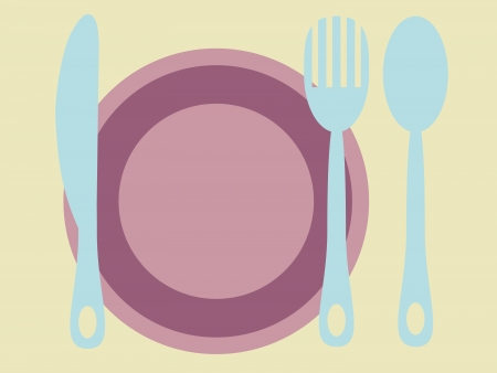 kitchen studio: Plate with cutlery  knife spoon and fork retro colors Illustration