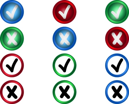 Yes or no buttons voctor set, check mark Stock Vector - 21532643