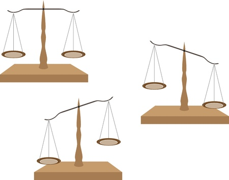 Vector set of various colored justice scales