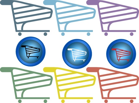 Vector set of shopping cart with different colours Vector