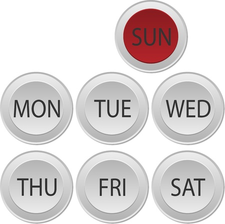 circle buttons of day of week Illustration