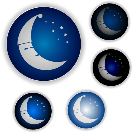 Night icon with stars and moon in nightcap Vector