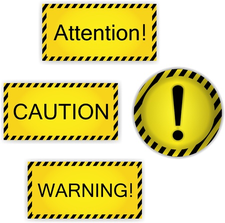 signs caution, attention, warning and exclamation mark Vector