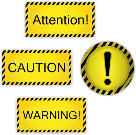tekenen voorzichtigheid, aandacht, waarschuwing en uitroepteken Stock Illustratie