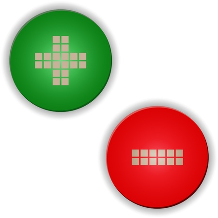Plus minus colored buttons or signs set Stock Vector - 21641856