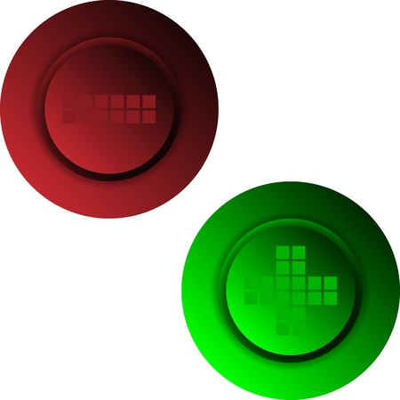 Plus minus colored buttons or signs set Vector