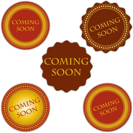 coming soon labels set vintage design Vector