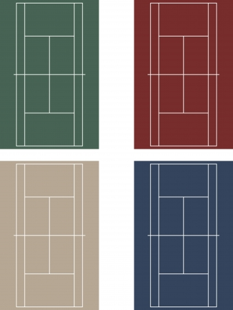hard court: Vector set of tennis courts with light green, blue, red, and beige colors