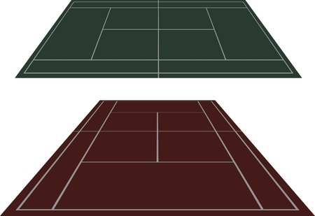 Vector set of tennis courts with in percpective viev Illustration