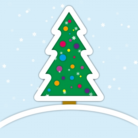 Christmas and new year tree minimalistic design Vector