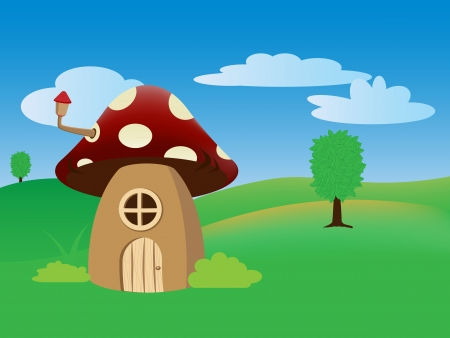 Cartoon illustration with funny mushroom house and background Vector