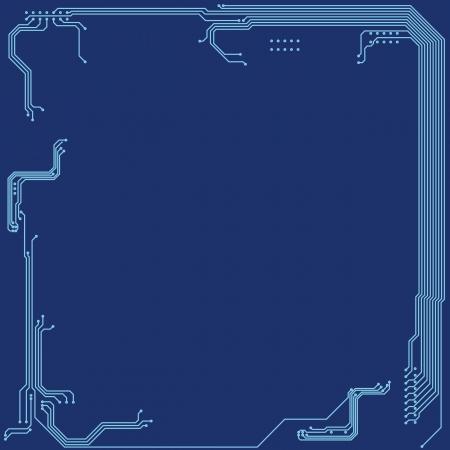 ton: Mavi ton renkleri ile mikroçip plan İllüstrasyon