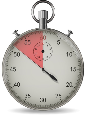 end of time: Realistic vector stopwatch with light shadows and end time red indicator