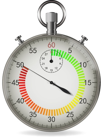 Realistic vector stopwatch with color temperature indicator of time