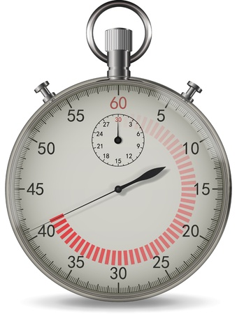 Realistic vector stopwatch with red indicator of time