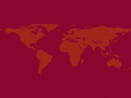 Illustration of striped world map in red color Vector