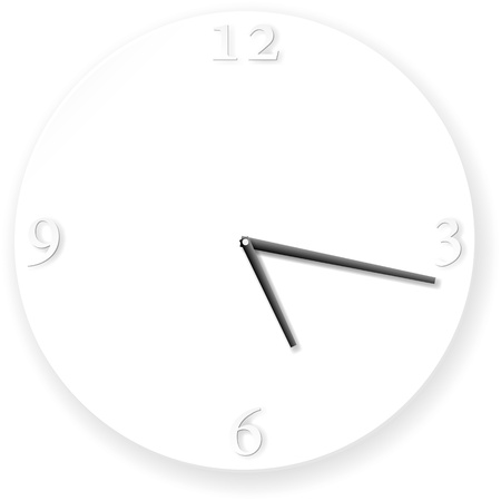 White clock illustration with minimalistic design with shadows