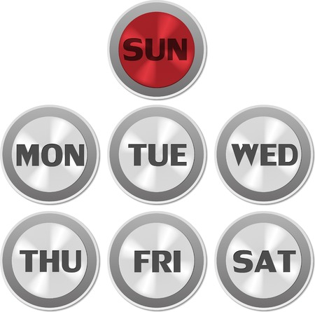 Vector circle buttons of day of week